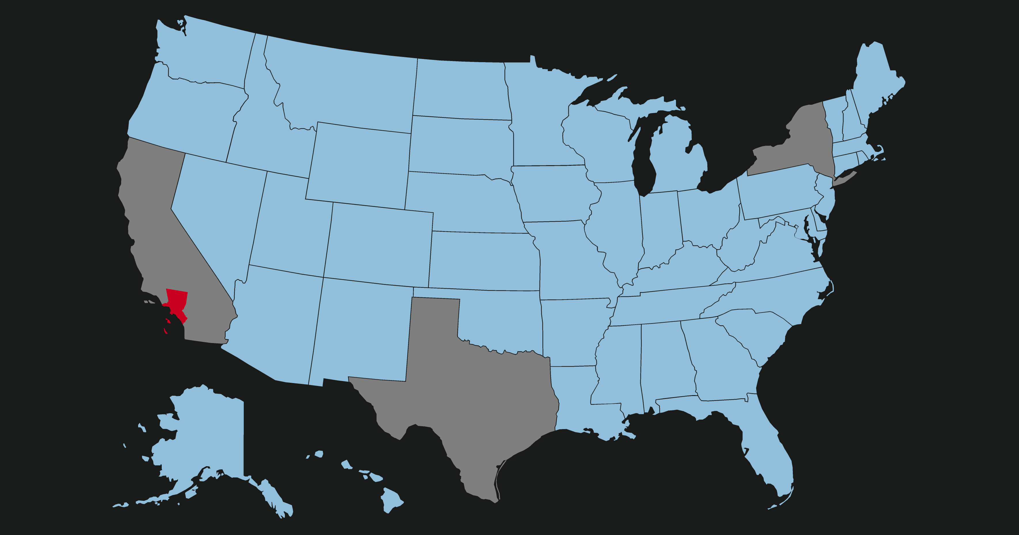 Comparison Between Los Angeles Metropolitan Area And Us States By Gdp - Los-angeles-in-us-map