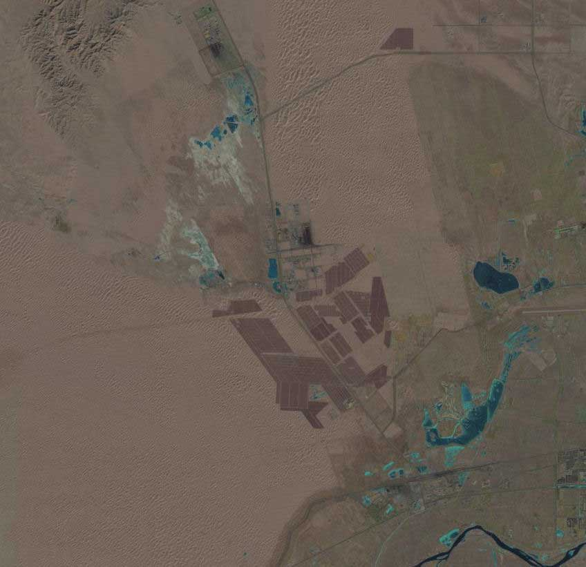 Satellite view of Tengger Desert Solar Park