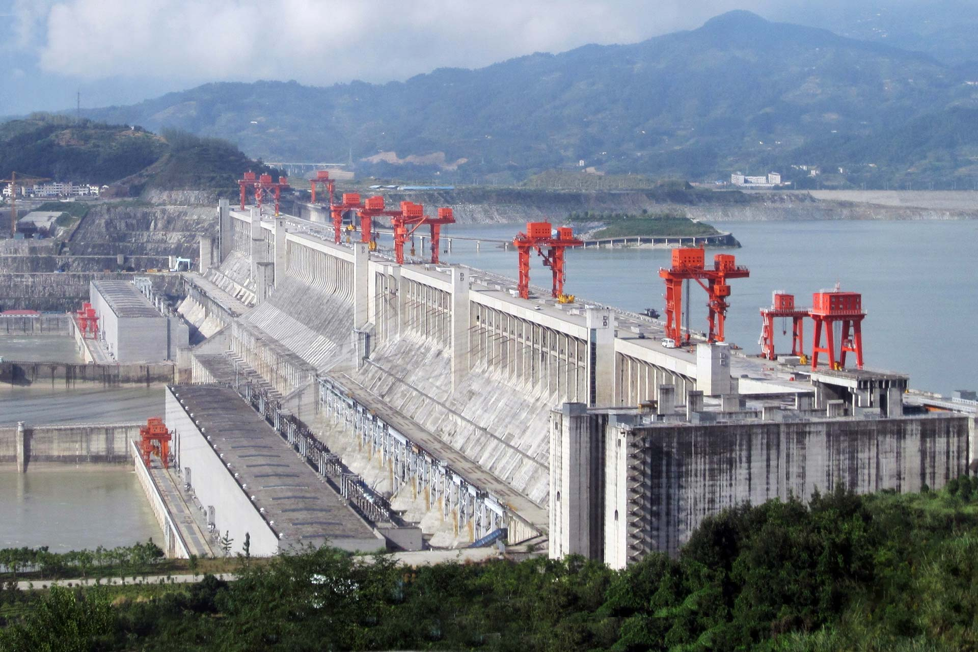 The Three Gorges Dam on the Yangtze River, China.