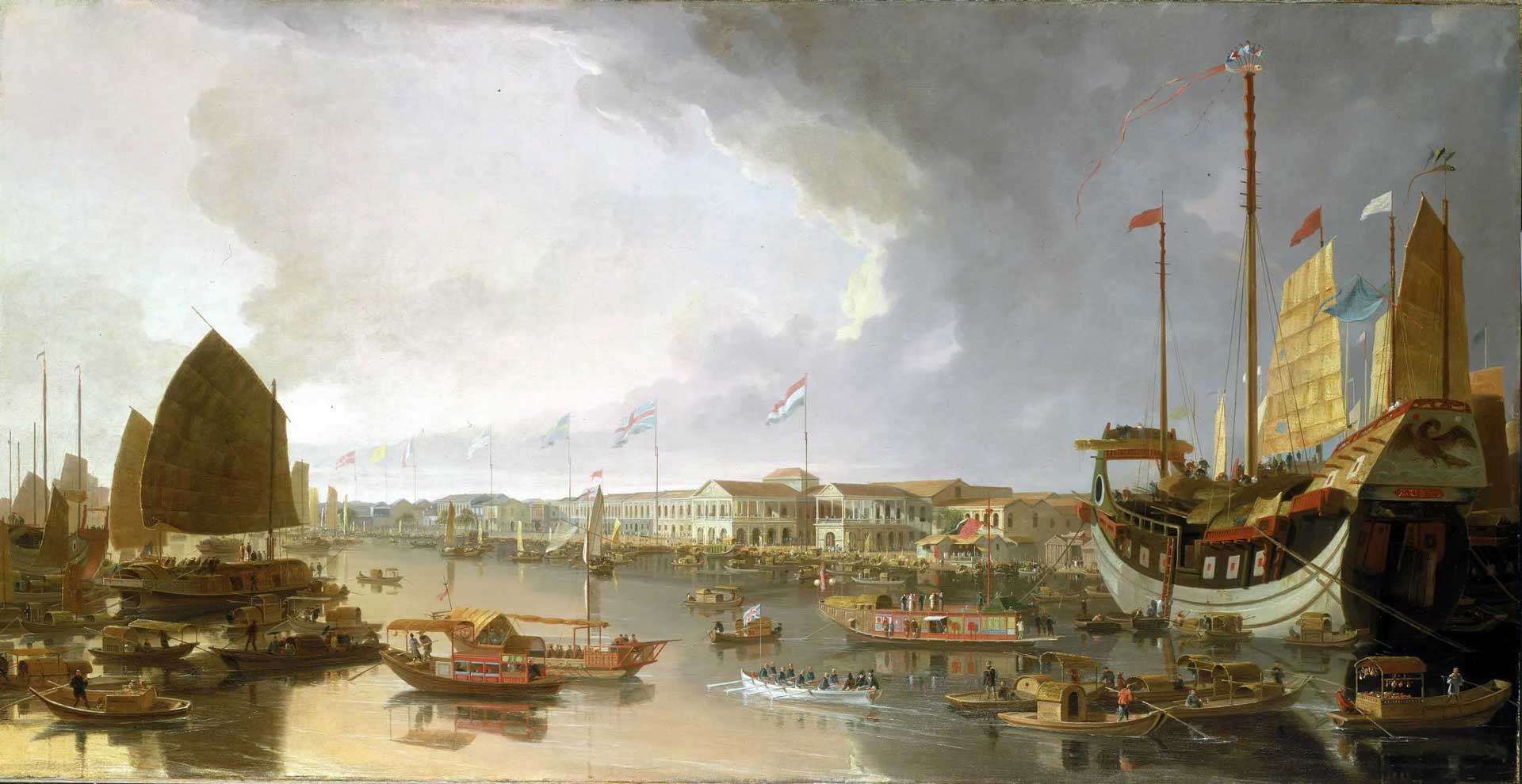 View of the Canton factories painting by William Daniell