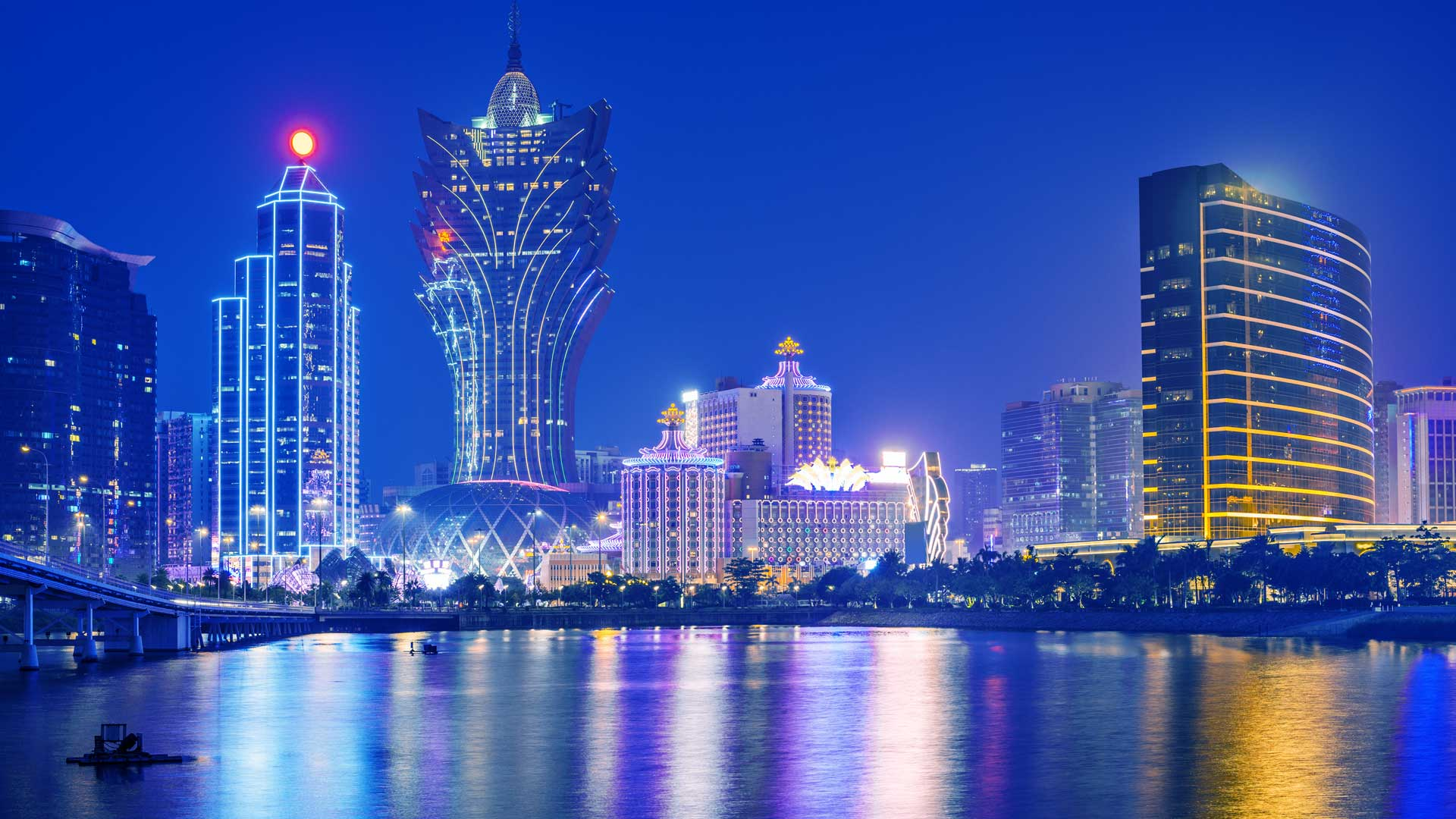 The lit up skyline of Macau