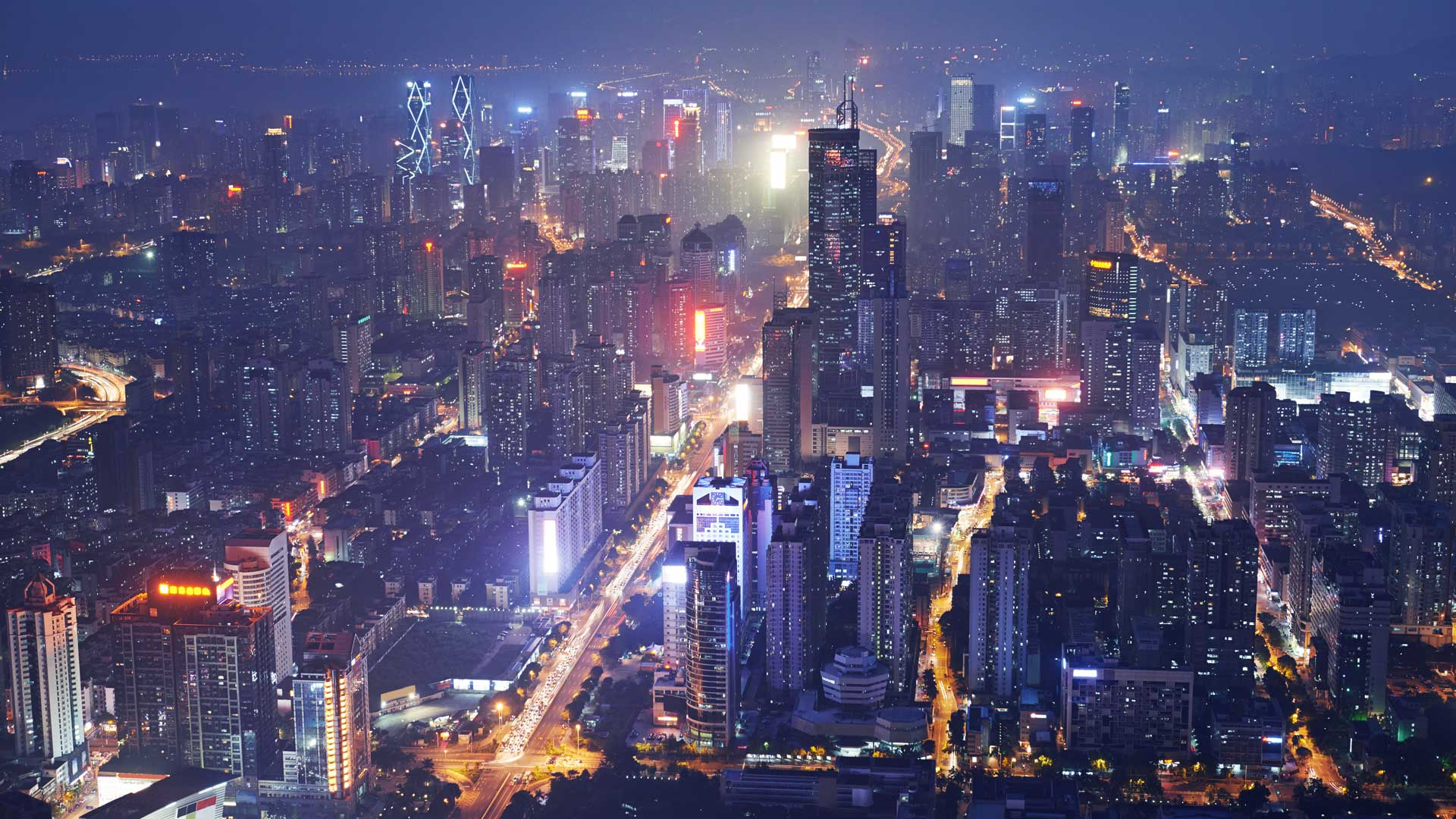 The lit up cityscape of Shenzhen