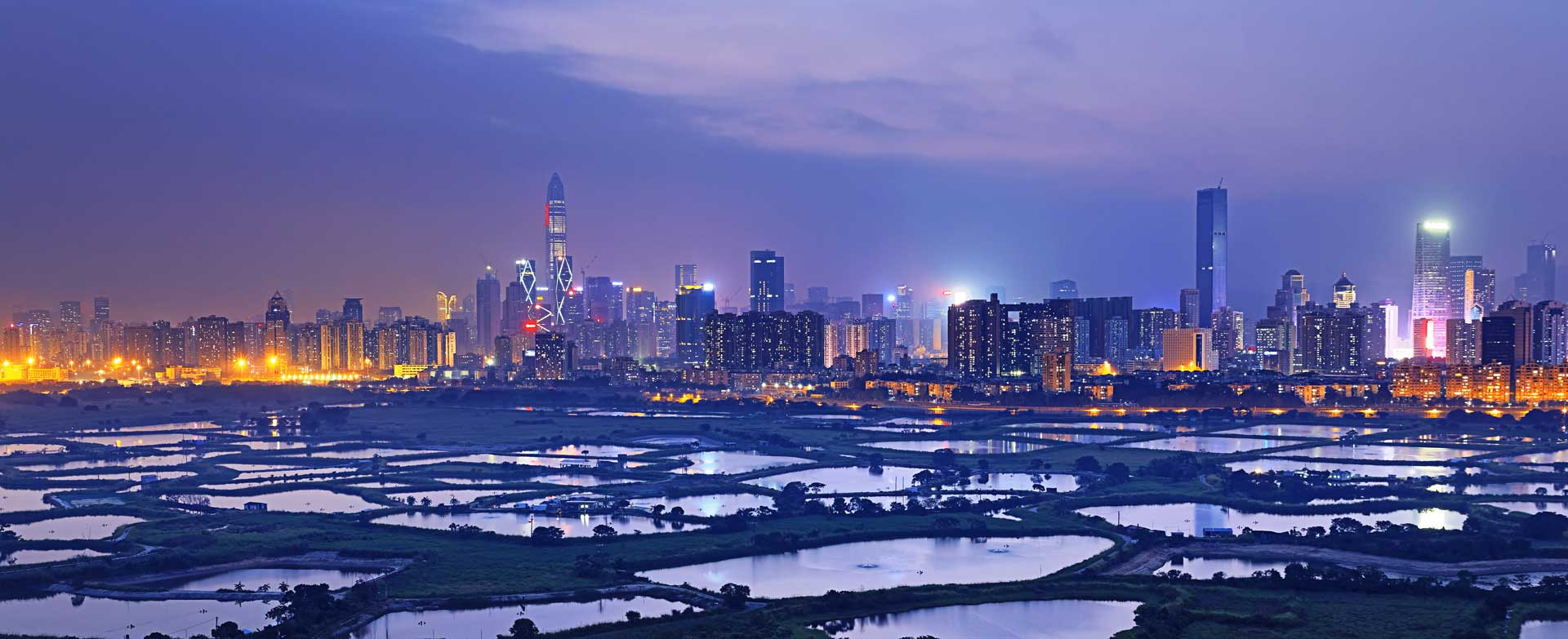 Wetland serves as the border between Hong Kong to the south and Shenzhen to the north.