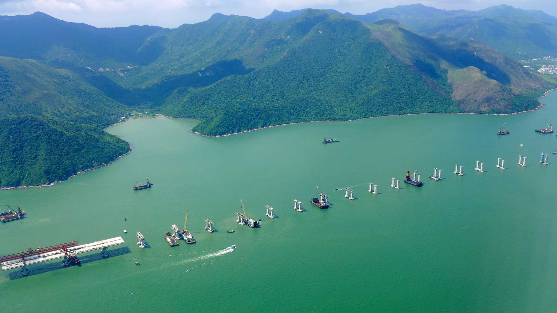 Hong Kong-Zhuhai-Macau Bridge under construction