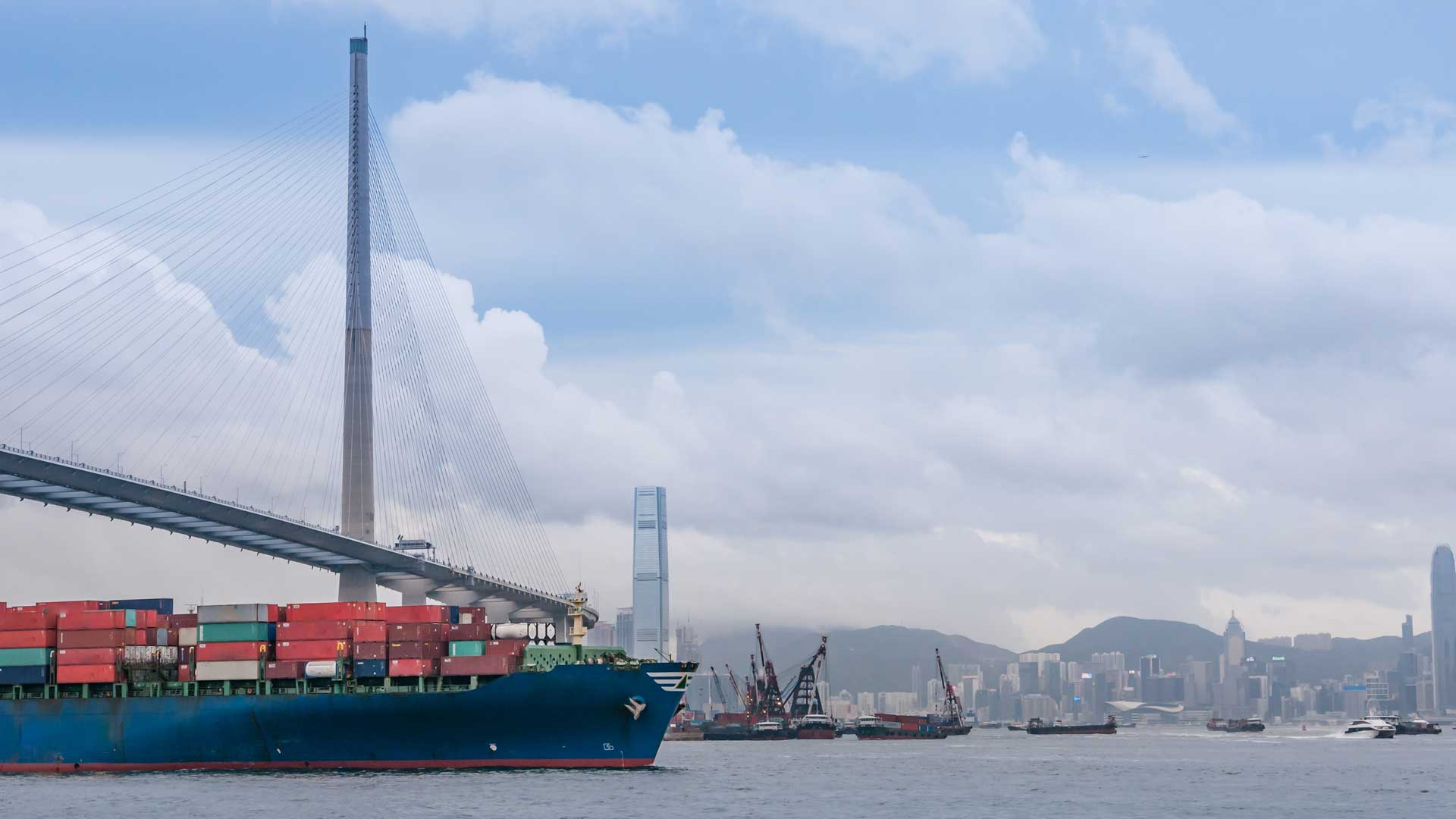 Container ships in Hong Kong's harbor.