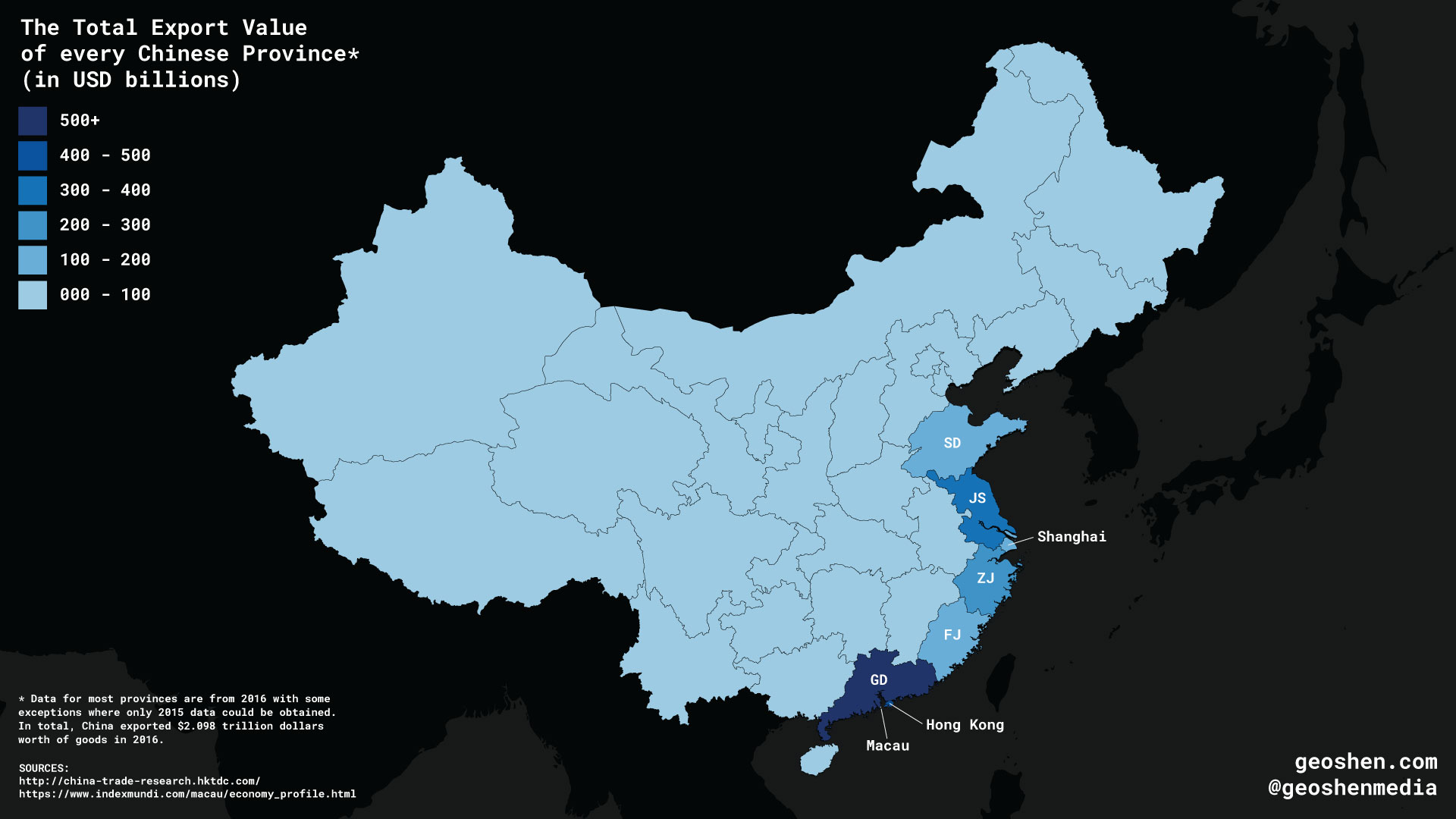 The Total Export Value of every Chinese Province